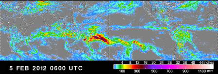 Tropical Rainfall Measuring Mission data for a 24-hour period