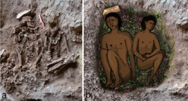 (l) Field photograph of two skeletons (adult on left, adolescent on right) during excavation. (r) Reconstruction of the double burial at the time of inhumation.