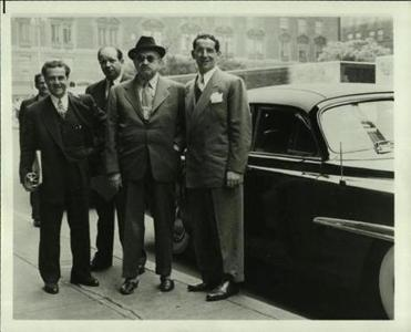 Dewey Stone (left) with Chaim Weizmann (center, with hat), head of the World Zionist Organization and later the first president of Israel.